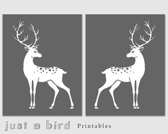11x14 print, Deer print, Buck deer nursery decor, INSTANT DOWNLOAD Deer Art, deer nursery print, grey white decor, home wall art, home decor