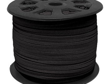 Wholesale-100Yds Black faux suede cord, 3mm, black faux suede cord for bracelets 3m