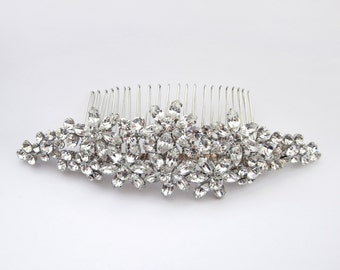 Antique Rhodium Floral Hair Comb with Marquise Rhinestone Accents