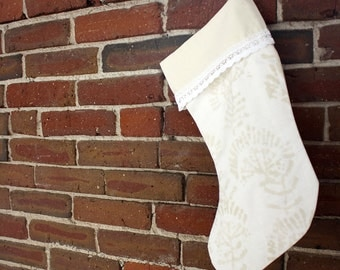 Soft Neutral Christmas Stocking with Lace Trim