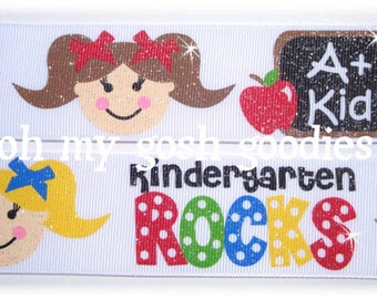 "KINDERGARTEN ROCKS GLITTER Grosgrain Ribbon 7/8"" and 1.5""  - 5 Yards - Oh My Gosh Goodies Ribbon"
