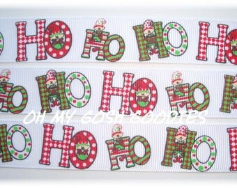"HO HO HO Elves Grosgrain Ribbon - 7/8"" - Oh My Gosh Goodies"