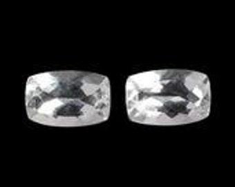 Golconda White Topaz Ouro Preto Diamond Cut Set of 2 Cushion Cut Loose Gemstone Set of 2 Cushion Cut 1A Quality 6x4mm TGW 1.15 cts.