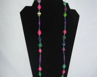 "Mixed colorful Paper beads Necklace (16""-20""). Hand rolled. Eco friendly."
