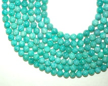 African Amazonite 6mm beads, Round Smooth Full Strand 16 inches or Half Strand 8 inches - Nice Greenish Blue Turquoise Color