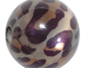 3 Large Leopard Print Beads, Large Animal Print Beads, 16mm Round,  3 Beads included