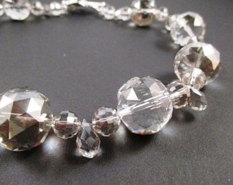 Bold AB treated Crystal and Teardrop Statement Necklace