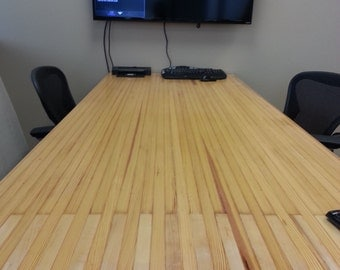 Reclaimed Wood Conference Table - Bowling Lane Top and Pipe Frame