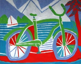 Bike and sea painting on canvas
