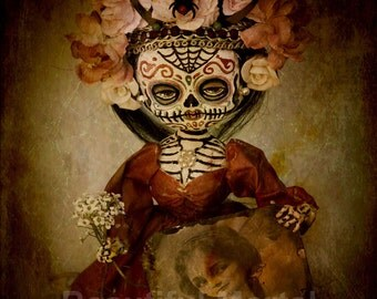 Beautiful Mortal Dia De Los Muertos Doll Holding Portrait canon PRINT 403 Reproduction by Michael brown