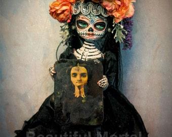 Beautiful Mortal Dia De Los Muertos Sugar Skull Girl holding Portrait canon PRINT 414 Reproduction by Michael Brown