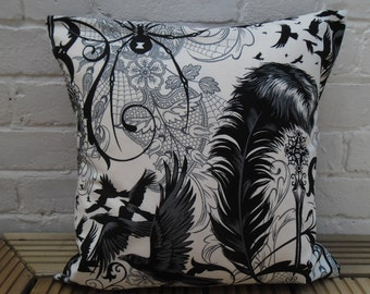 Gothic Skull/Spider/Raven Cushion Cover (Alexander Henry 'After Dark' fabric)
