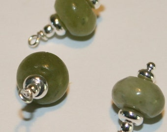 "BC-074 ""Green Beans"" beaded charms (3)"
