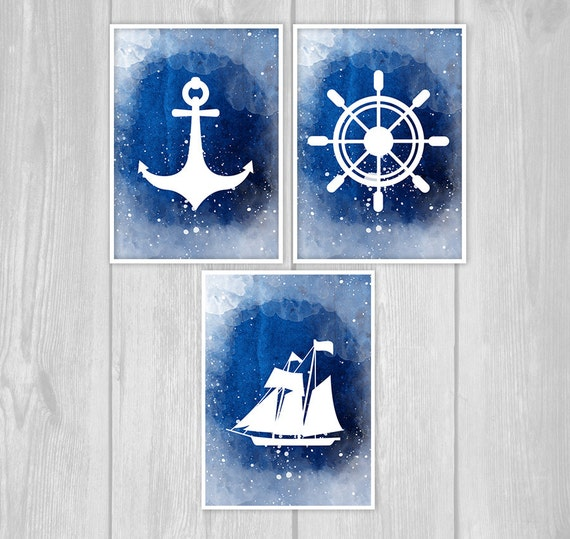 Watercolor nautical decor set navy vintage rustic helm anchor for Where can i buy nautical decor