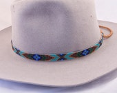 Beaded Hatband, Handmade by the Artist, Geometric Design in Dark Gold, Chocolate Brown, Matte Gold, Emerald Green and Blues.