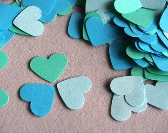 150 Turquoise paper HEARTs, Die cut Heart, die cut paper hearts, paper heart cutouts, Love heart garland, , wedding confetti, heart shape
