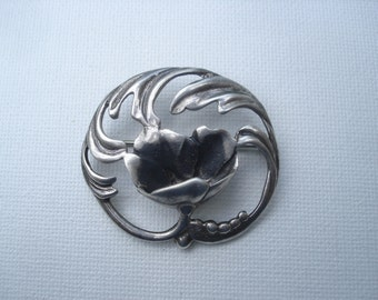 Flower Brooch Sterling Silver Jewelry Pin Very Good Condition 01681