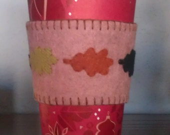 Leaf wool felt coffee cup cozy #1