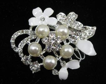 WHITE Rhinestone Brooch Faux Pearl Brooch,Wedding Bouquet Brooch,Rhinestone Brooch,Crystal Brooch,Wedding Supplies,Wedding Embellishment