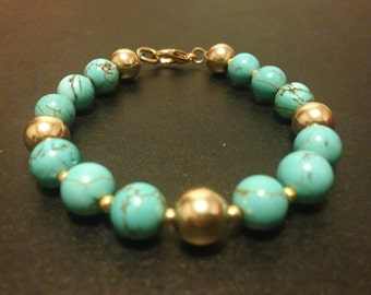 Turquoise & Gold Filled Beaded Bracelet