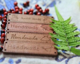 "10 Pieces ""Handmade"" Natural Wood Sign ""Handmade"" label"