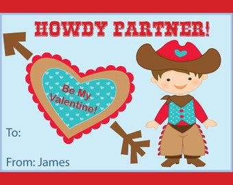 Be My Valentine Cowboy Valentine's Day Printable Cards