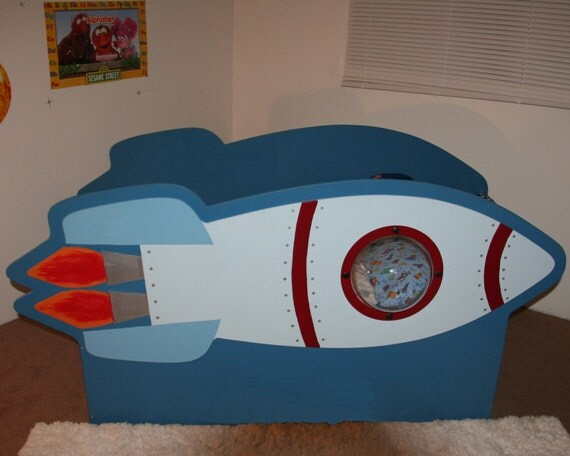 Items similar to children 39 s rocketship bed on etsy for Childrens rocket bed