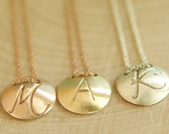 Rose Gold disc initial necklace handcrafted by Bare and Me, Rose Gold Initial Jewelry, Rose Gold Initial Bridesmaid Necklaces