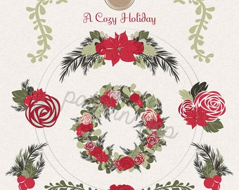 Holiday Christmas Wreath CLIP ART - Scrapbooking