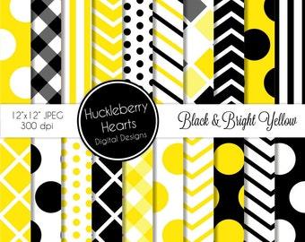 Black and Bright Yellow Patterns Digital Scrapbook Paper, Digital Backgrounds, DIY Printables