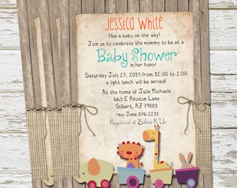 Rustic, Safari Animals, Baby Shower Invitation, Burlap, Wood, Shabby, Printable, Customize, 5x7