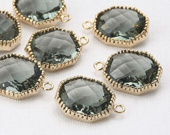 Charcoal Glass Square Pendant  Polished Gold -Plated - 2 Pieces [SS0002-PGCC]