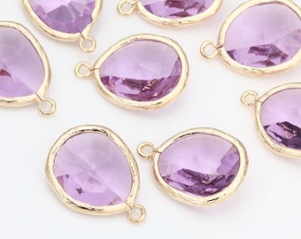 Clearance(70%DC)  - Lavender Teardrop Glass Pendant  Polished Gold-Plated - 2 Pieces [G0022-PGLV]_Regular price 7.50