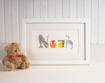 Personalised Animal Name Art print - 2-4 letters