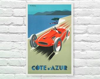 "Cote d Azur French Rivera Vintage Travel Poster, Art Print, Art Posters, Minimalist Art Advertising Vintage Poster 13"" x 19"""