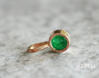 Emerald Pendant , Solid 14k Gold,  Genuine Emerald Jewelry, Emerald necklace,  May Birthstone, gemstone pendant, Unique Gift for Her