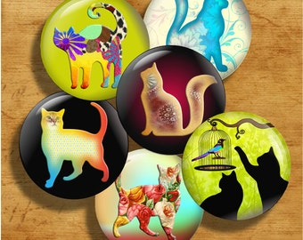 Colorful Cats - One Inch Round Digital Collage Sheet for pendants, magnets, bottle caps, paper crafts