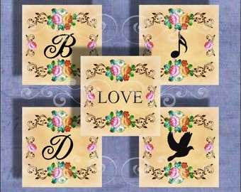 Vintage Romance- - Initials and Images - One InchSquare -Digital Collage Sheet
