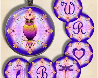BOHO - Initials and Images - One Inch Round Digital Collage Sheet for Pendants, Magnets, Bottle Caps, Paper Crafts