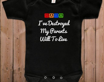 Funny baby clothes newborn baby clothes Destroy parents will to live gift for dad gift for mom baby gift idea baby bodysuit one piece romper