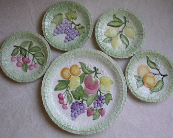 "KITCHEN Decor ""SAN MARCO""  Decorative Fruit Plates - Set of 5"