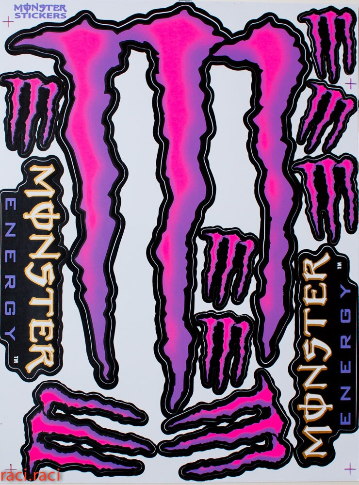 pink large monster energy claws sticker decal by raciraci. Black Bedroom Furniture Sets. Home Design Ideas