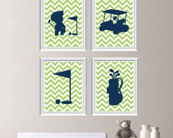 Baby Boy Nursery Art - Golf Nursery - Golf Bedroom - Golf Nursery Decor - Golf Nursery Art - Golf Bedroom Art - Green Blue (NS-188)