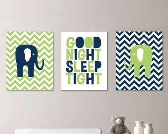 Good Night Sleep Tight Elephant Print Trio - Boy Girl Nursery. Decor. Jungle Chevron - Shown in Green Navy Blue - You Pick the Size (NS-324)