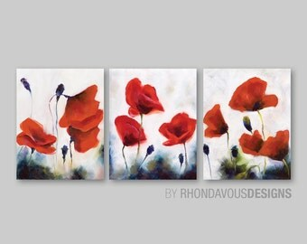 Red Poppy Wall Art. Red Poppy Painting Reprint. Home Decor. Bathroom Wall Art. Bedroom Art. Flower Poppies. Photo Paper or Canvas (NS-441)