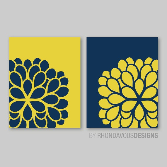 Blue And Yellow Bathroom Decor: Navy Blue & Mustard Yellow Dahlia Flower By RhondavousDesigns2