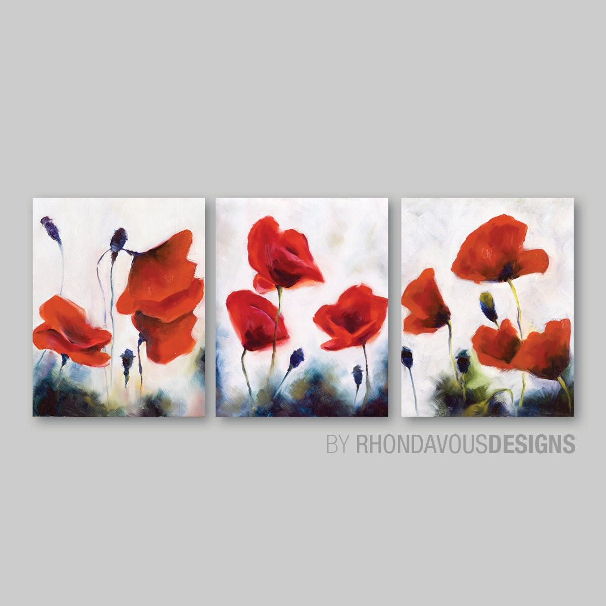 Red poppy wall art red poppy painting reprint home decor for Red wall art
