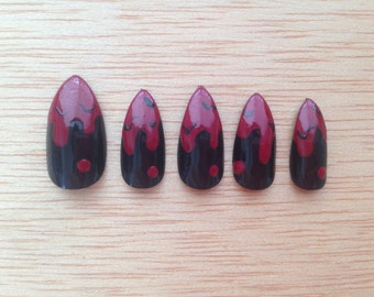 how to make blood drip nails