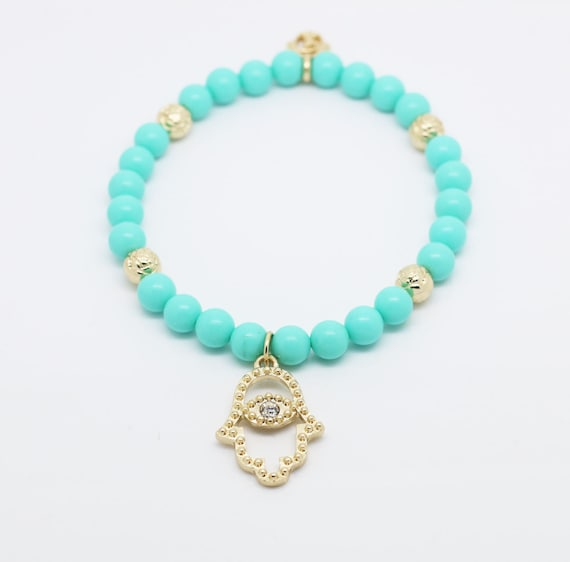 blue plastic bead hamsa charm bracelet hamsa bracelet for