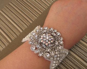 Vintage Style Crystal and Rhinestone Bridal Wedding Bracelet/Cuff